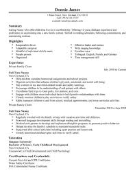 Nanny Resume Example 11 Part Time Job Seeking Tips