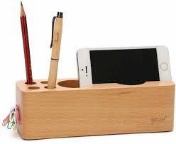 Wooden Cell Phone Stand Charging Dock Holder Pen Pencil Holder