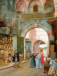 oriental bazaar scene at cairo khan el khalili by filippo bartolini italian oil painting 50 x 66 cm