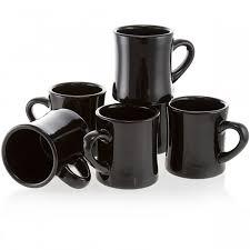 diner coffee mug set of  black  vintage ceramic coffee cups