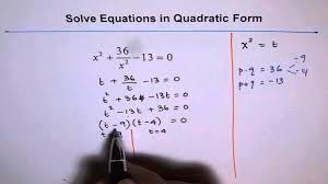solve rational equation in quadratic form