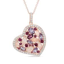 multi gemstone and lab created white sapphire heart pendant in sterling silver with 18k