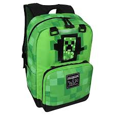 "JINX <b>Minecraft</b> Creepy <b>Creeper</b> Kids <b>Backpack</b> (<b>Green</b>, 17"") for ..."