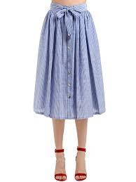 Light Blue Striped Skirt Striped Cotton Midi Skirt