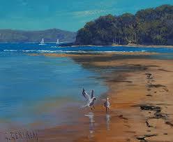 australian beaches painting patonga beach australia by graham gercken