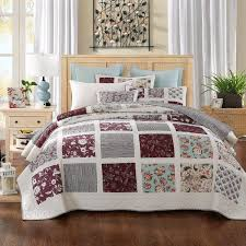 Bedspreads & Quilt Sets & Quilt - DaDa Bedding Seafoam Merlot Burgundy Pines Floral Bohemian Cotton  Real Patchwork Reversible Quilted Coverlet Adamdwight.com