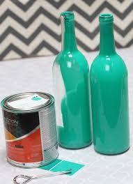 Painted Wine Bottle Centerpiece - Teal
