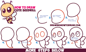 how to draw cute chibi kawaii beedrill from pokemon easy step by step drawing