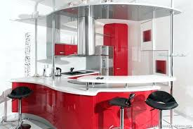 a modern take on retro kitchen with curved red cabinets chrome accents appliances ireland
