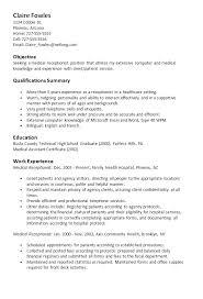 Receptionist Sample Resume Sample Resume Medical Receptionist Sample