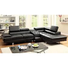 kemina black bonded leather sectional