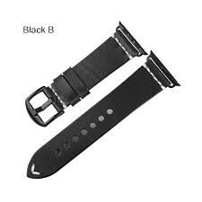 maikes vintage oil wax leather strap for apple watch band 42mm 38mm 44mm 40mm series 4 3 2 1 iwatch black bracelet watchband band color black b band width