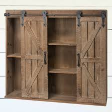 wood barn door wall cabinet