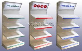 merchandiser display shelving unit with company logo canopy
