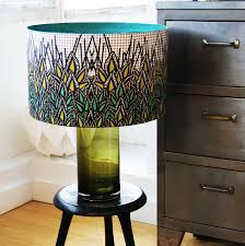 glamorous large drum lamp shades on top of a round wooden table lamp pretty patterned canvas