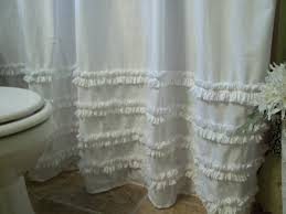 gallant white shower curtain for bathroom accessories beautiful shabby chic ruffle shower curtain