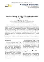 Centrifugal Governor Design Pdf Design Of Structural Parameters For Centrifugal
