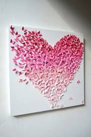 pink ombre butterfly heart butterfly wall art easy to make this a diy project cut little tiny butterflies in ombre colors and glue in the shape of a  on 3d paper wall art diy with paper rose heart 3d paper art purple nursery decor home decor