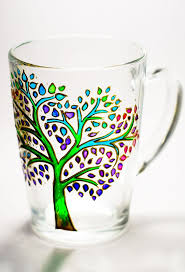 Tree of Life Painted Glass Coffee Mug, Coffee Lovers #Gift Ideas, Custom #