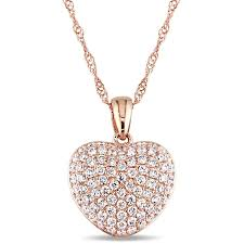 amour 1 2 ct tw pave diamond heart pendant with chain in 14k rose gold