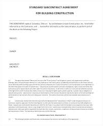 Standard Construction Contract Forms Subcontractor Agreement For