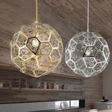modern geometric globe hollowed out ceiling hanging pendant light chrome gold