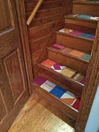 flor carpet samples used to cover wooden steps