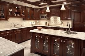 kitchen idea with dark cabinets and light countertops