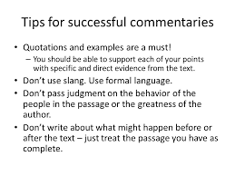the written commentary paper what is a commentary a commentary  tips for successful commentaries quotations and examples are a must