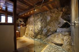 Massive Stone Shower Luxury Val Chalet Rustic Design DMA Homes