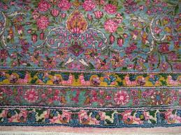 fresh persian kerman nice wool pink blue yellow synthetic colors 12x19 df83
