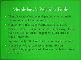 The Periodic Law History of the Periodic Table. Mendeleev's ...