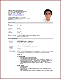 Cosy Resume Format For Job Application Philippines In Resume