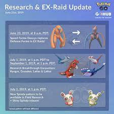 Research Updates for July & New EX Raid Boss Announced   Pokemon GO Hub   Pokemon  go, Pokemon, Go game