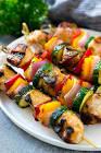 barbecued skewered chicken