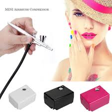 airbrush makeup kit spray gun set with mini pressor for cake decoration nail painting temporary tattoo hobby art pink