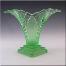 walther sohne 1930 s art deco green glass greta vase 50 00
