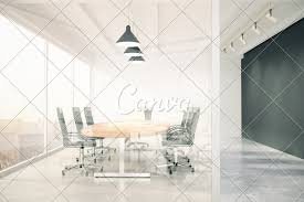 Meeting Room Wall Design Meeting Room With Glass Wall Blackboard Wooden Table