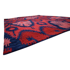 ikat wool red and navy rug rugs