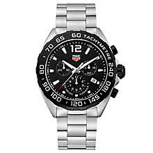 tag heuer watches quality swiss watches ernest jones watches tag heuer f1 men s black dial stainless steel bracelet watch product number 4797574