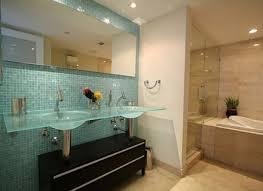 blue decorative glass tile for small bathroom backsplash