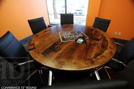 round conference room table boardroom table reclaimed wood table mississauga ontario reclaimed wood