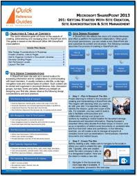 How To Make A Quick Reference Guide Microsoft Sharepoint 2013 Quick Reference Guide Using Sharepoint To