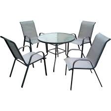 marquee 5 piece steel sling back outdoor setting
