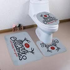3 pcs bathroom mat set printed bathroom rug set anti slip bath mat toilet lid