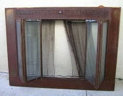 copper fireplace cover vintage rustic brass fireplace screen with metal chain mail curtain folding glass doors