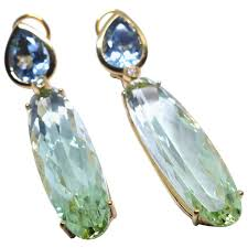 fine aquamarine green beryl 18k gold chandelier earrings for