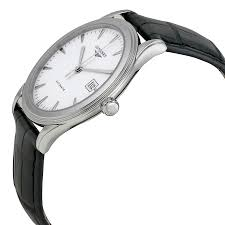 longines flagship automatic white dial black leather mens watch 703200186375