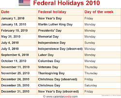 2010 Calendar January Federal Holidays 2010