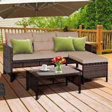 gymax 3pc rattan furniture sofa lounge
